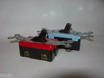 2 Vintage Retro WALL on/off LIGHT SWITCHES~1 RED & BLACK and BLUE & BLACK BROWN
