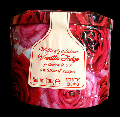 Gardiners Traditional Vanilla Fudge Rose Round Tin 200g Christmas