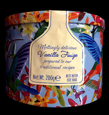 Gardiners Traditional Vanilla Fudge Bird Round Tin 200g Christmas