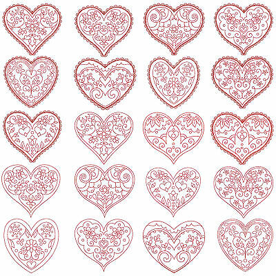 HEARTS Machine Embroidery Redwork Patterns  * 20 Designs, 2 Sizes