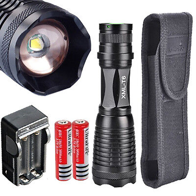 10000LM CREE XM-L T6 LED 2xFlashlight Torch Zoomable light Lamp+2x18650 +Charger