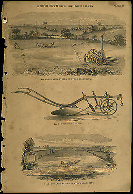 Antique print STEAM PLOUGHING Howard Hornsby Fowler copper plate engraving