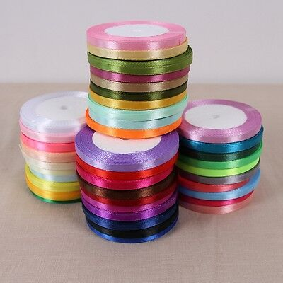 "6mm(1/4"") Satin Single Face Ribbon Lot Bow Craft 25Yards 60 Colors Options"