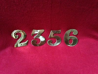 "Vintage - Windourrent 4"" Solid Brass House Numbers 2 3 5 6/9 - Four Piece Lot"