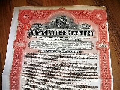 Imperial Chinese Gov. 5% Hukuang Railways Sinking Fund / 1911