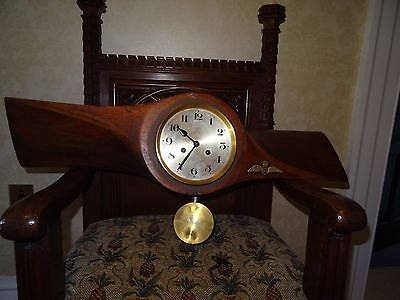 Antique Militaria Trench Art Royal Flying Corp Propellar Pendulum Clock