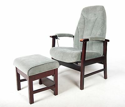 Vintage Armchair and Stool Recliner 1 of 2 Ottoman Lounge Chair Footstool Stool