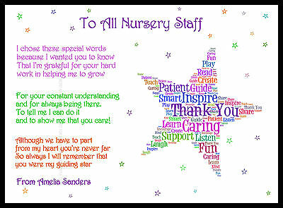 Thank you Teacher Star Gift Personalised Childminder Assistant Present Key TA