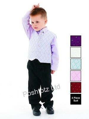 Boys Suits 4pc Lilac & Black Formal Suit Wedding Pageboy Christening