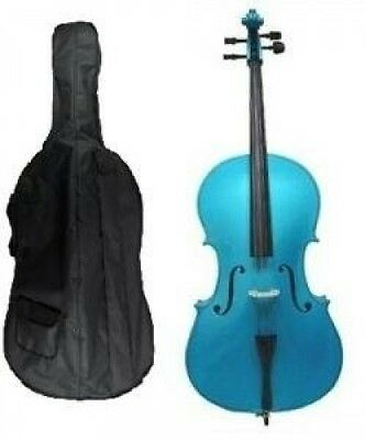 Grace 4/4 Size BLUE Cello for Beginners, Students with Bag and Bow, Free Rosin a