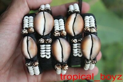 5 Single Cowrie Cowry Seashell Sea Shell Bone Beads Leather Bracelets Wholesale