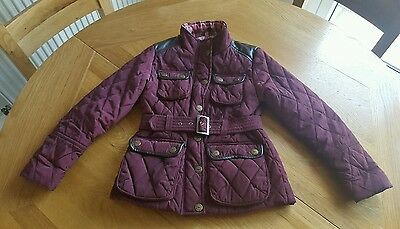 Next Girls Quilted Coat Jacket size 7-8 Years Red Burgandy
