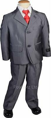 Boys Suit 3 Piece Premium Grey Two-Tone Tonic Wedding,Pageboy suits age1-16yrs