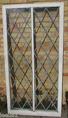 Early 1900's Wood Framed Diamond Leaded Window Vintage Architectural Salvage