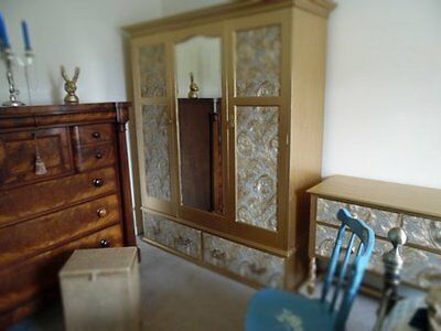 Antique Wardrobe. Shabby Chic, luxury gold bedroom furniture, hand painted