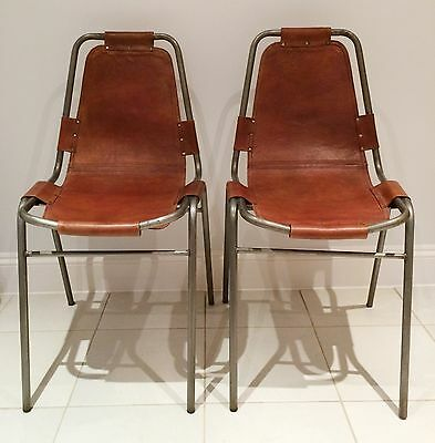 Vintage Leather & Steel Industrial Charlotte Perriand 'Les Arcs' dining chair