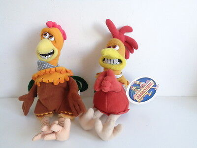 """CHICKEN RUN MOVIE - 2 x 10"""" BEANIE SOFT TOYS - ONE WITH GRIPPING ARMS"""
