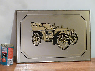 Vintage bar mirror, Fiat 1903 car with metal frame good condition,