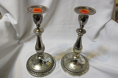 """Vintage Unmarked Silverplate Candlestick Taper Holders 11"""" Tall"""