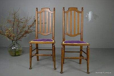 Pair Pitch Pine High Back Chairs