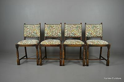 Set 4 Traditional Style Upholstered Oak Dining Chairs
