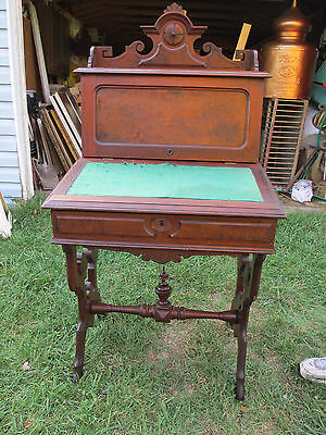 Antique Furniture Eastlake Victorian Carved Burled Wood Secretary Slant Top Desk