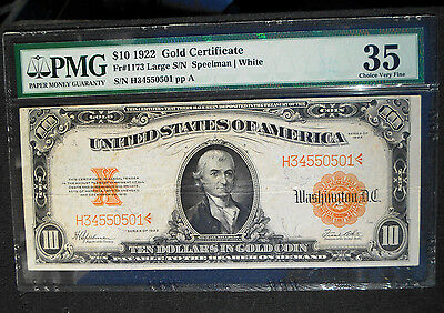 """1922 $10 Gold Certificate Fr.#1173 """"""""Large Serials""""""""  PMG 35 Choice Very Fine"""