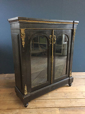Vintage Antique Pine Ebonised Black Paint French Gilt Chest Drawers Cabinet Gold