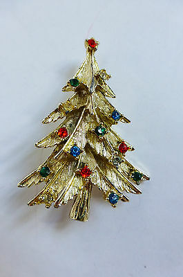 60s Christmas Tree Brooch Goltone with Multicolor Rhinestone Ornaments 3D Boughs