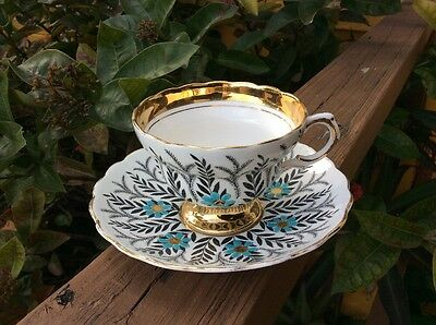 Rosina Bone China Made In England Blue Enamel Flowers Tea Cup and Saucer Set