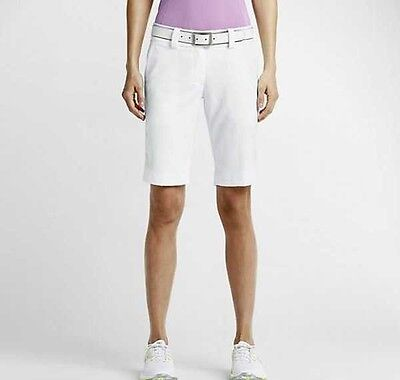 Nike Women's Modern Rise Tech Golf Shorts WHITE 618148-100 New UK 6