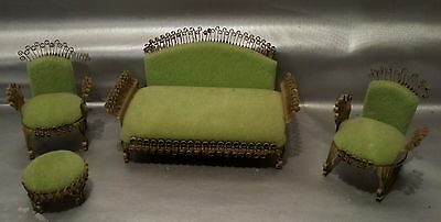 LOT of 3 VINTAGE FURNITURE DOLL HOUSE BARBIE METAL SOFA ROCKING CHAIR GREEN