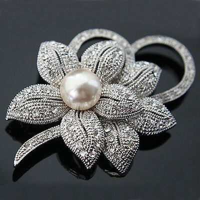 Vintage Silver Or Gold Flower BROOCH Pin Wedding Crystal Rhinestone Pearl Broach