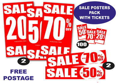 Sale posters and signs %off package with Tickets you choose