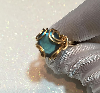 Blue Green AAA Labradorite Ring 14k Yellow gold Fill Size 8.5