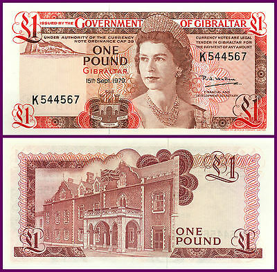 P20b GIBRALTAR 1979 EARLY ONE POUND NOTE 'UNC' RARE HIGH GRADE