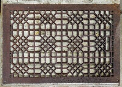 "Large Vintage Ornate Cast Iron Air Return Floor Grate 16"" X 24"" 15+ lbs."