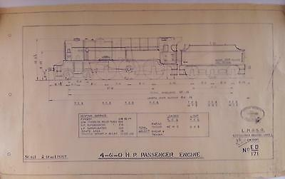 Vintage 4-6-0 H. P. Passenger Engine Technical Drawing With Br Development Stamp