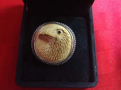 Dinosaur Bone EAGLE HEAD pin/pendant