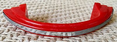 Vintage Bright Red Plastic & Chrome Drawer Handle Pull Cabinet Door-Excellent!