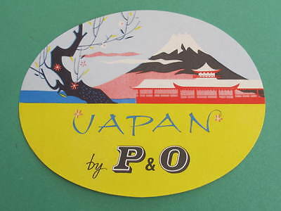 Large P & O Shipping Line Luggage Label Japan Full Gum