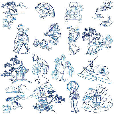 * ASIAN BLUE * Machine Embroidery Patterns * 16 Designs, 2 Sizes