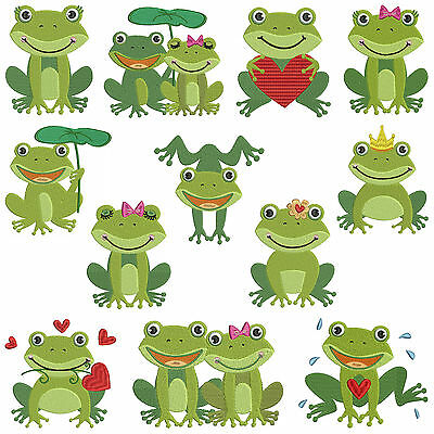 * FROGS * Machine Embroidery Patterns ** 12 Designs in 3 sizes