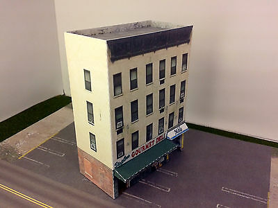 N Scale Building - Downtown apartment with shops  Cardstock kit set DNW1