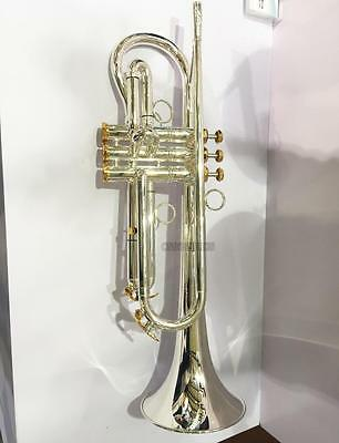 Customized Professional silver plating Trumpet Horn B-Flat Large Bell With Case