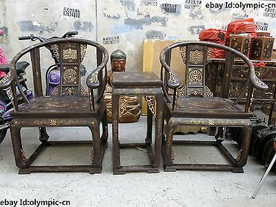 China wood lacquer old dragon phoenix old-fashioned wooden armchair Chair pair