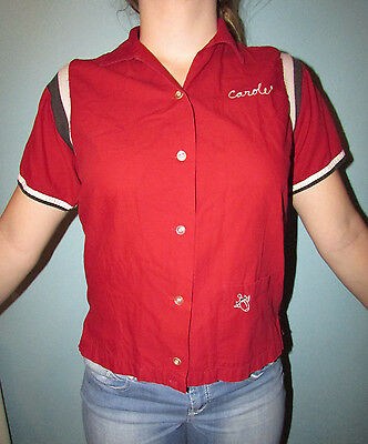 """Vintage 50's BOWLING SHIRT Authentic w Tag Embroidered Pin Logo &""""Carole"""" SZ38"""