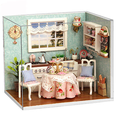 DIY Doll House Happy Kitchen Wooden Dollhouse Miniatures LED Furniture Kit Room
