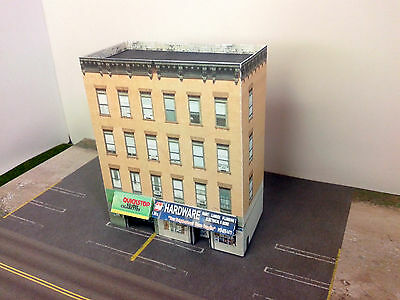 N Scale Building - Downtown apartment with shops  Cardstock kit set DNW3