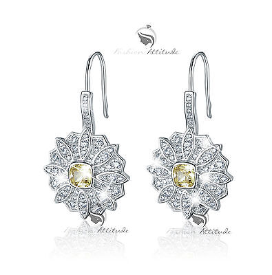 18k white gold gf made with SWAROVSKI crystal stud flower citrine earrings